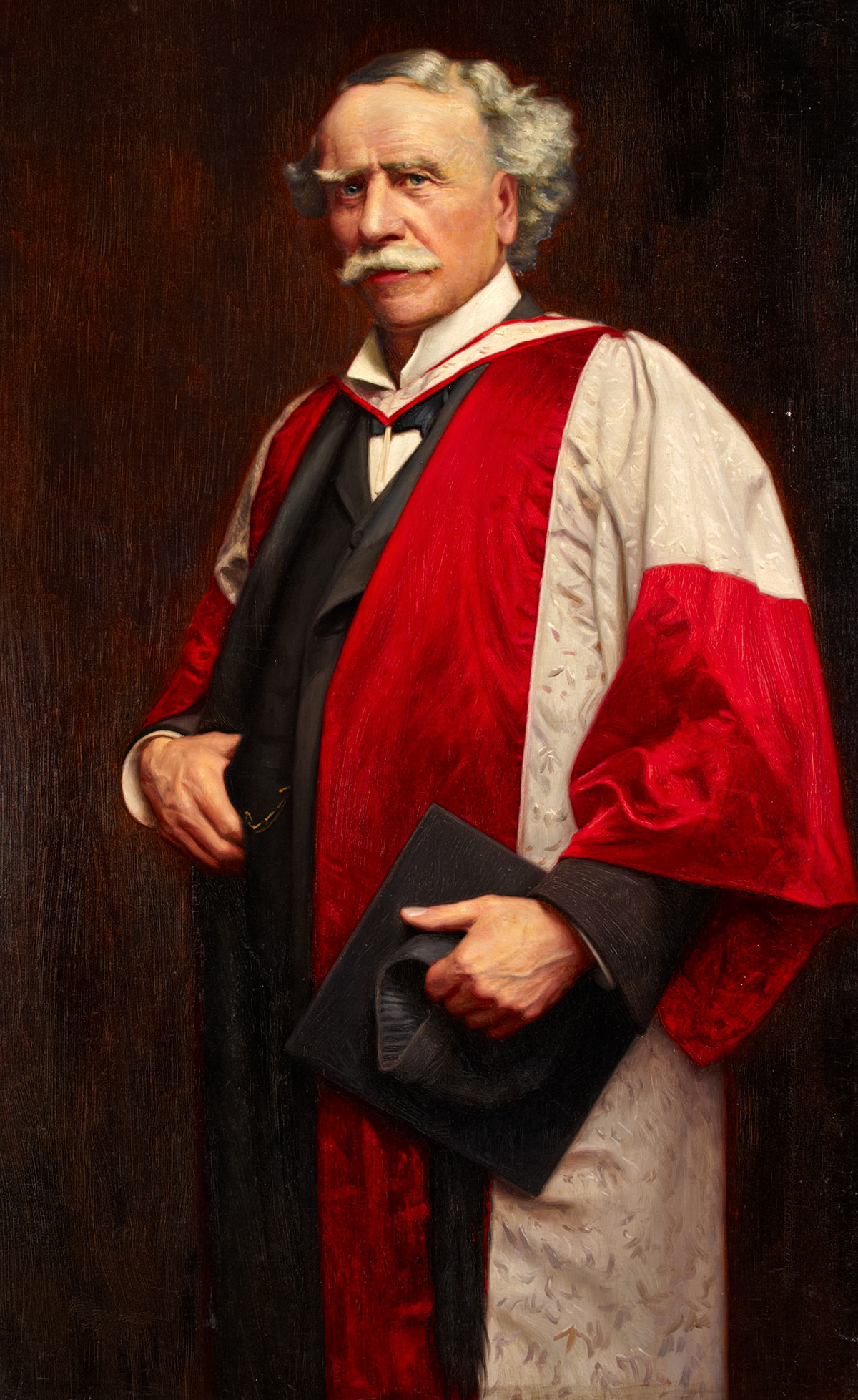 Oil painting of W.H. Cummings in doctoral robes by F.G.A. Butler (active 1900-1918).